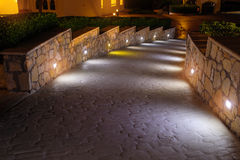 Night lighting path for walks in the hotel Stock Image