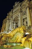 Night lighting of Trevi fountain in Rome, Royalty Free Stock Photography