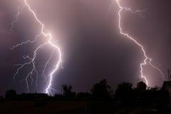 Night lightning. Lightning in the night sky Royalty Free Stock Images