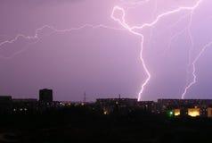Night lightning. Powerful lightning at midnight in Sevastopol Stock Photography