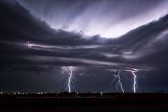 Night lightning striking during a Texas thunderstorm Royalty Free Stock Photography