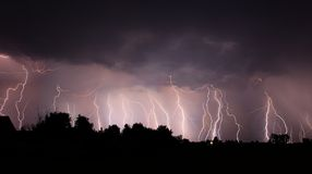 Night lightnings Stock Images