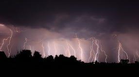 Night lightnings. Lightnings on the night sky Stock Images