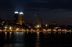 Night lights. Dnepropetrovsk downtown and river Dniepr at night Stock Photography