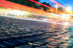 Night Lights. City road in the middle of the night. Traffic Royalty Free Stock Image
