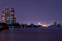 At night, the lights of the big city near the river. At night, the lights of the big city near the river in Thailand,Bangkok Stock Images