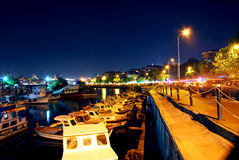 Night lights on boats. Marina in the evening with a lot of boats in İstanbul, TURKEY Stock Images