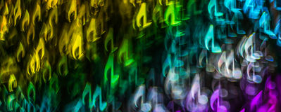 Night lights bokeh shaped sheet music, defocused bokeh light, bl Stock Photography
