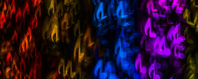 Night lights bokeh shaped sheet music, defocused bokeh light, bl Royalty Free Stock Photos