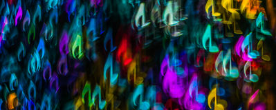 Night lights bokeh shaped sheet music, defocused bokeh light, bl Royalty Free Stock Photo