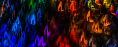Night lights bokeh shaped sheet music, defocused bokeh light, bl Stock Images