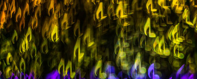 Night lights bokeh shaped sheet music, defocused bokeh light, bl Stock Image