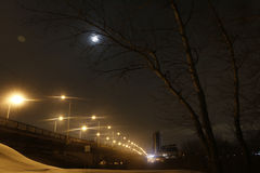 Night lights on the bridge and snow Stock Image