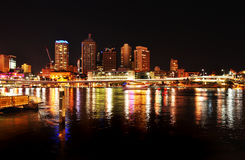 Night lights at Brisbane city reflecting in river Royalty Free Stock Image