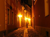 Night lights in city. Night lights in Riga capital of Latvia Stock Photo