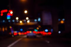 Night lights in city. Bokeh lights on road in the city, night lights in city, street lights bokeh background, blur of night lights bokeh on street Royalty Free Illustration