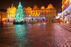 Night lights of the city on Christmas night in Poznan. Central square Royalty Free Stock Photography