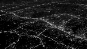 Night lights of the city. View from the airplane window stock video