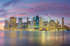 Night Lights of Famous Manhattan Skylines, New York City Royalty Free Stock Images