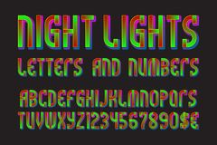 Night lights font of letters, numbers with currency signs of dollar and euro. Isolated typographic symbols.  royalty free illustration