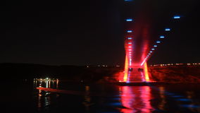 Night lights of Istanbul`s Bridge stock video