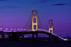 Night Lights - Mackinac Bridge Stock Photo