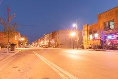 Night lights on Main Street Hannibal Missouri US stock photo