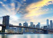 Night lights of Manhattan - Aerial view of New York City - USA Royalty Free Stock Photo