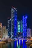 Night lights of Marina Bay in Dubai Royalty Free Stock Photography