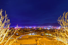 Night lights of the old town of Shangri-La. Night lights of the old town of Shangri-La, China Stock Photography