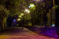 Night lights old Uzhgorod Stock Photo