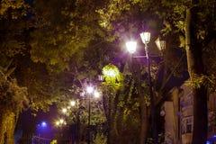 Night lights old Uzhgorod Stock Images