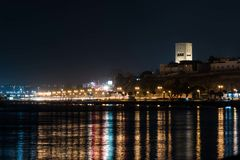 Night Lights in Rabat, Morocco from the bay stock photography