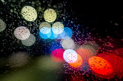 Night lights and rain Stock Photography