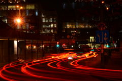 Night lights. On the road traffic Stock Image
