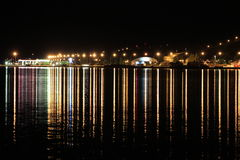 Night lights seaside town in Iceland. Stock Image