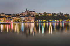 Night Lights of Sodermalm District in Stockholm stock image