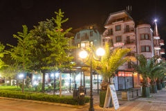Night lights of St. George Hotel in Pomorie, Bulgaria stock images
