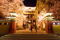 Night lights of the Temple in Shangri-La, China. CHINA,SHANGRI-LA - APRIL 20, 2016:Night lights of the Temple in Shangri-La, China Stock Image