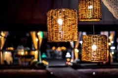Night lights. Three night lights on background of summer restaurant Stock Photos