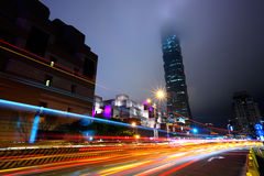 Night with lights of traffic in Taipei Royalty Free Stock Photos