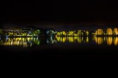 Night Lights West Lake Reflection Hangzhou Zhejiang China Stock Image