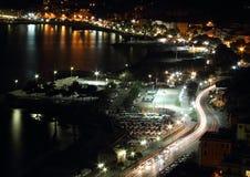 Night panorama of the Ligurian coast Stock Photos