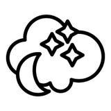 Night line ikona Księżyc z gwiazd i chmur wektorową ilustracją odizolowywającą na bielu Nocne niebo konturu stylu projekt ilustracja wektor