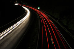 Night lines on highway Stock Images