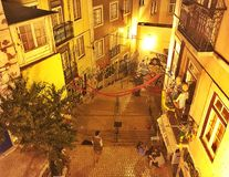 Night in Lisbon street, Portugal Stock Photography