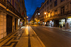 Night Lisbon street Stock Photo