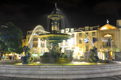 Night-lit fountain Lisbon, Portugal Royalty Free Stock Photography
