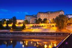 Night Logrono from bridge over Ebro Stock Photo