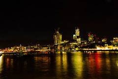 Night London city. London city during night with river thames Stock Photography